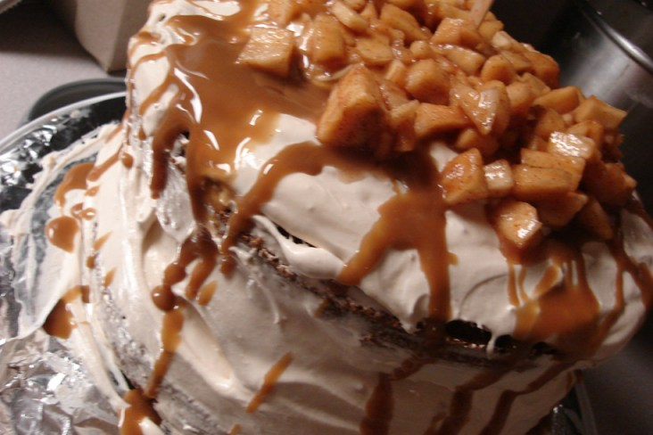 Apple Caramel Mousse Cake all assembled