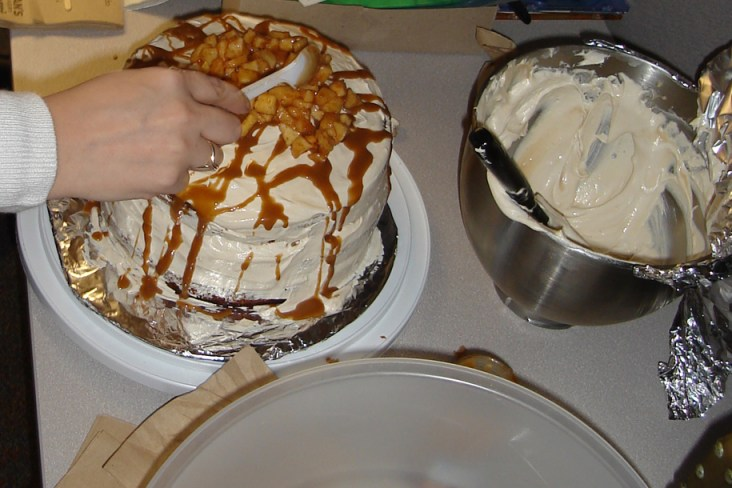 The layered covered cake, topped with apple filling.