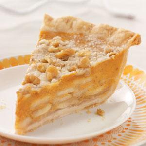 Taste of Home's Crumb-Topped Apple & Pumpkin Pie