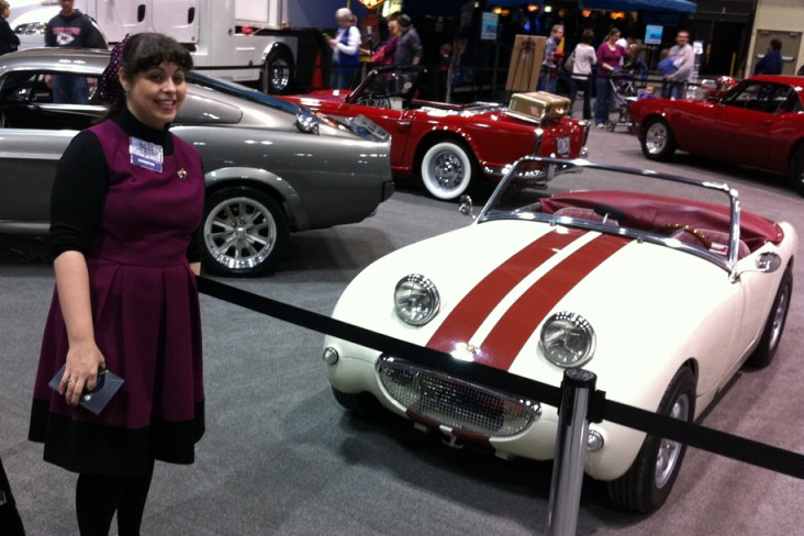 Me with my dream car, an Austin Healey Bug-Eyed Sprite