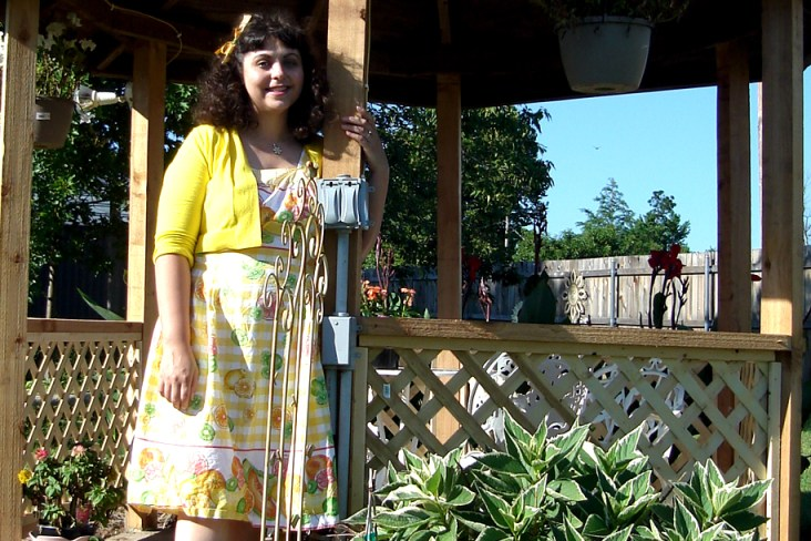 Here I am in my lemon dress from last year.