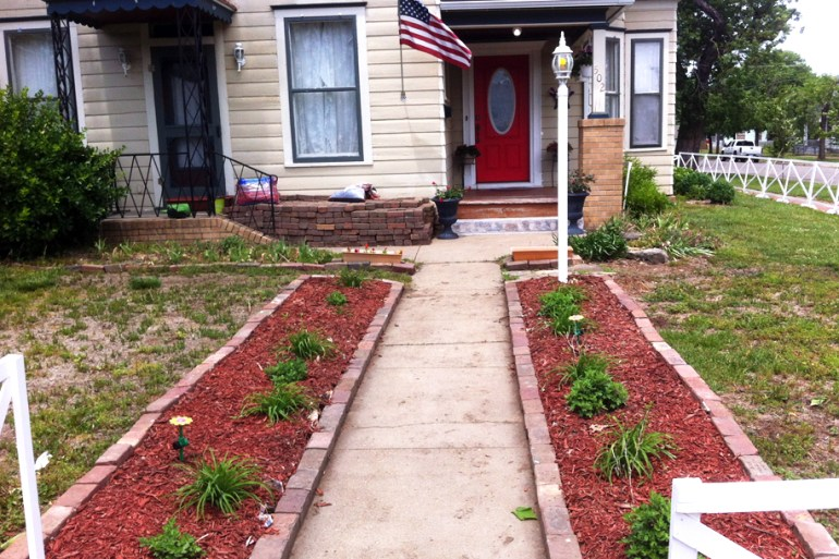 Flower beds with completed brick