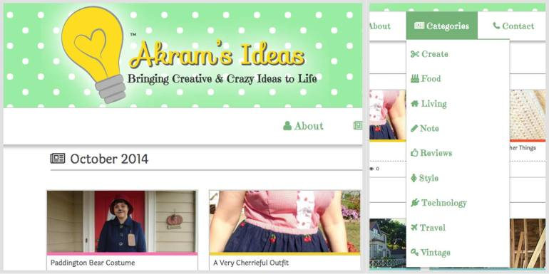 Akram's Ideas header and categories drop down