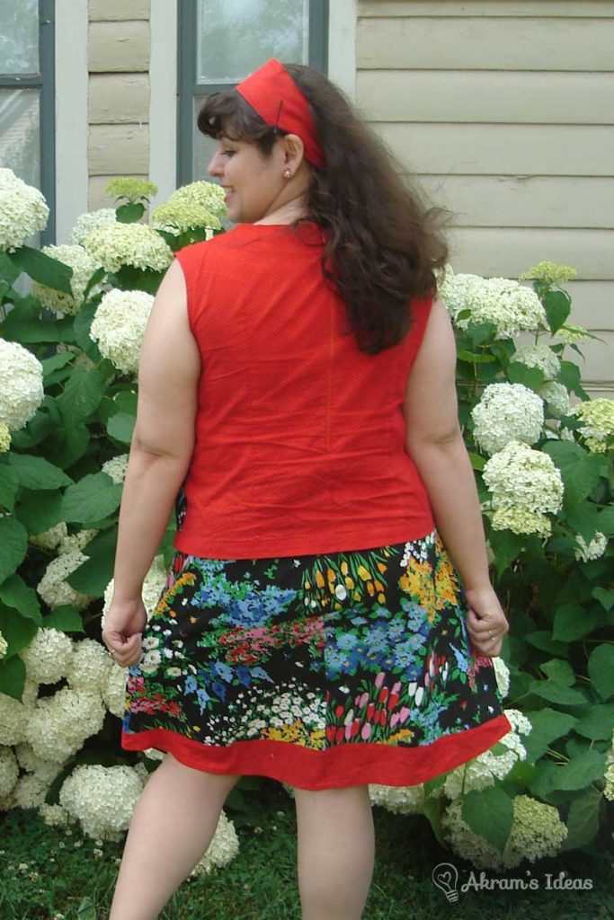Back of shirt, paired with the matching skirt