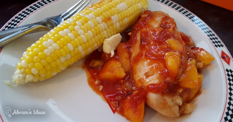 Peach BBQ Chicken with Sweet Corn