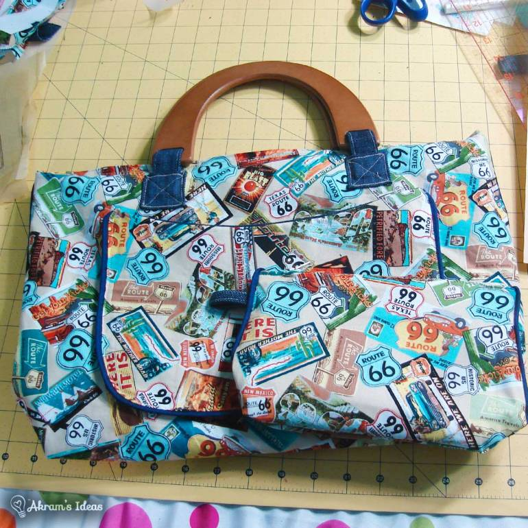 This is the Route 66 purse I made last year for my #VintageSecreteSanta gift exchange