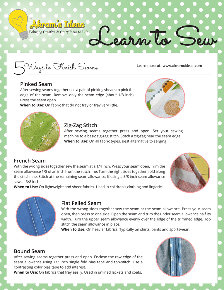 Akram's Ideas: Learn to Sew - 5 Ways to Finish Seams Cheat Sheet
