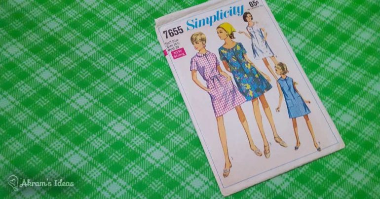Simplicity 7655 and this green polyester plaid fabric went perfectly together.