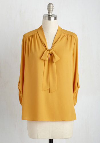 Modcloth Careerist and Dearest Top in Saffron