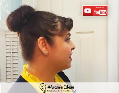 How-to video for creating your own DIY sock bun and style a classic vintage updo bun hair style.