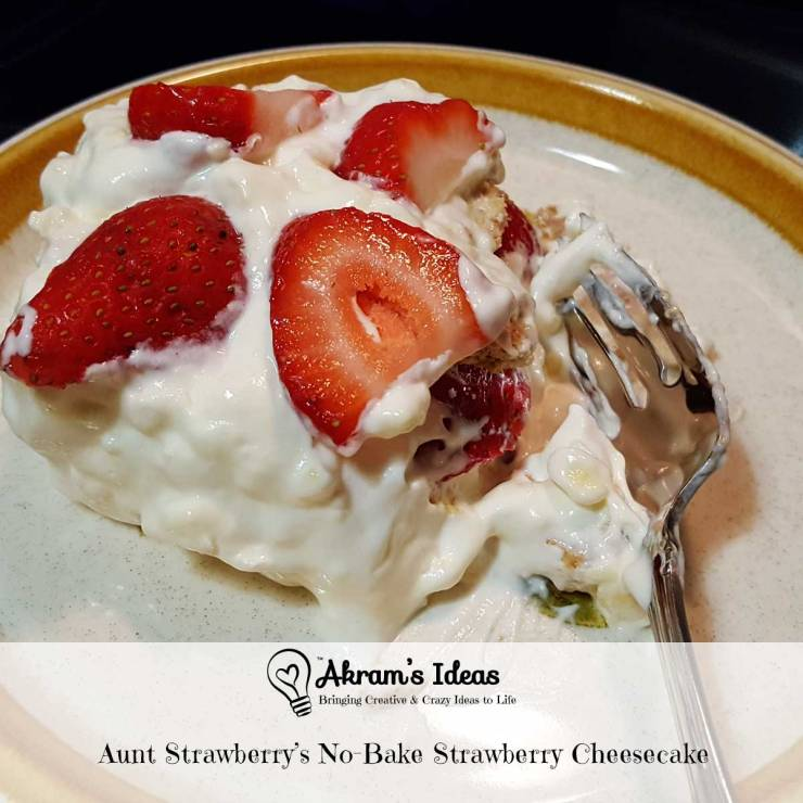 Recipe for an easy no-bake strawberry cheesecake to take to your next get together or potluck.