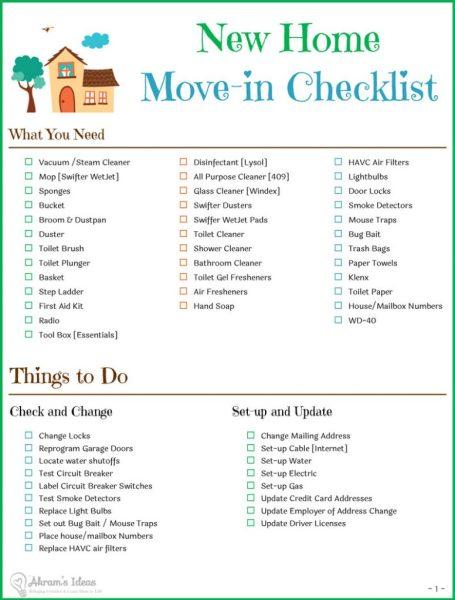 Akram's Ideas : New Home Checklist