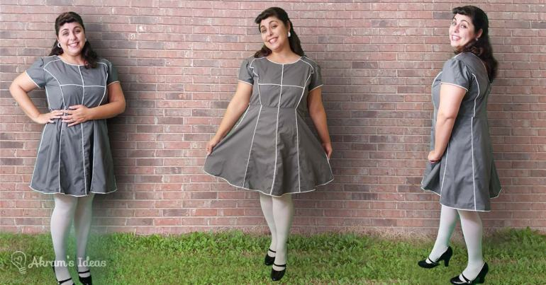 Review of my Megan Nielsen Karri dress pattern featuring multi-panels, a flared skirt and princess seams. Also, the dress in which I used a whole lot of piping.