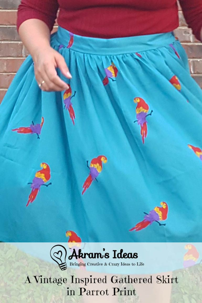 Review of my vintage inspired gathered skirt made from thrifted parrot print fabric.