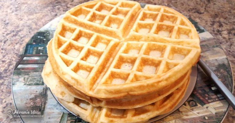 Recipe True Belgian Waffles, these waffles are caramelized and crisp on the outside and light and fluffy on the inside.