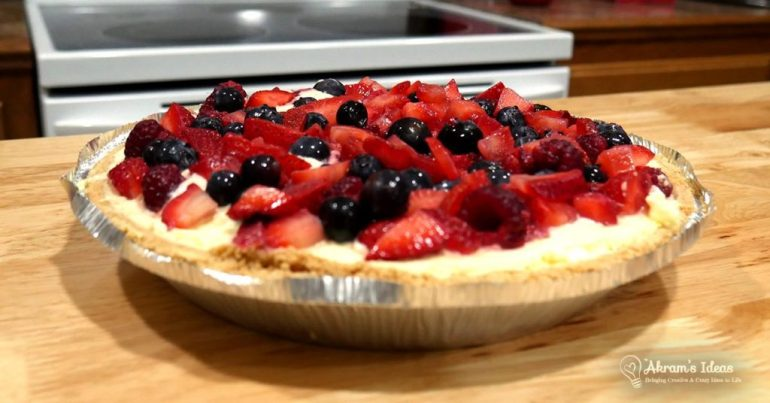 Quickie bake recipe for Lemon Berry Pie a no-bake lemon cheesecake topped with seasonal berries. The perfect dessert for a summer get-together.