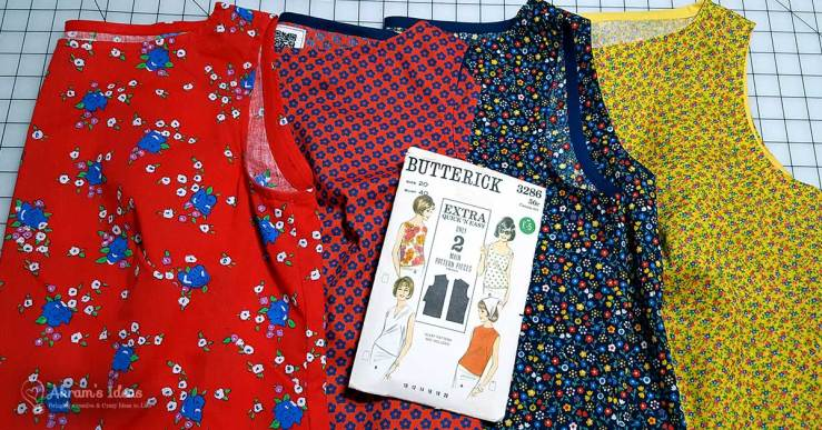Review of my latest #vintagepledge2017 make Butterick 3286 a great 1960's summer top made with only two pattern pieces.