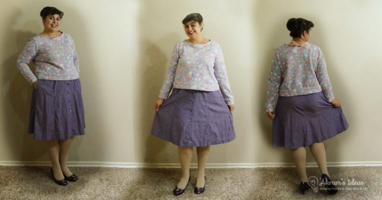 Tutorial for adding pockets and beltloop hack for Simplicity 8019 a 1970's reproduction buttondown skirt.