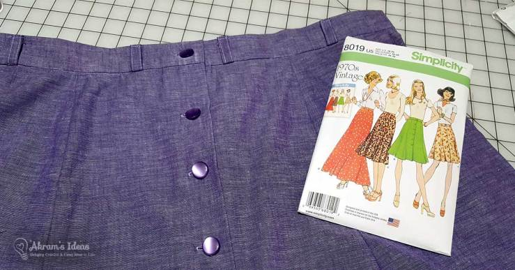 Quick review of the hacks I made to Simplicity 8019 a 1970's reproduction buttondown skirt.