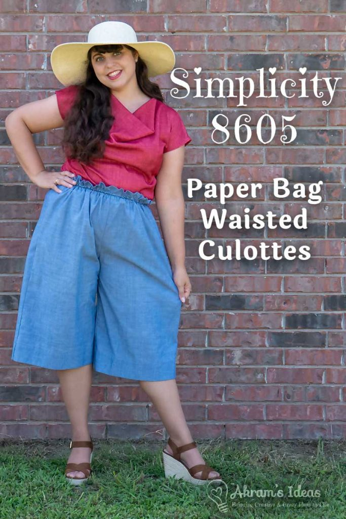 Sharing my thoughts on my summer culottes, I made using Simplicity 8605, featuring wide legs and a paper bag waist.