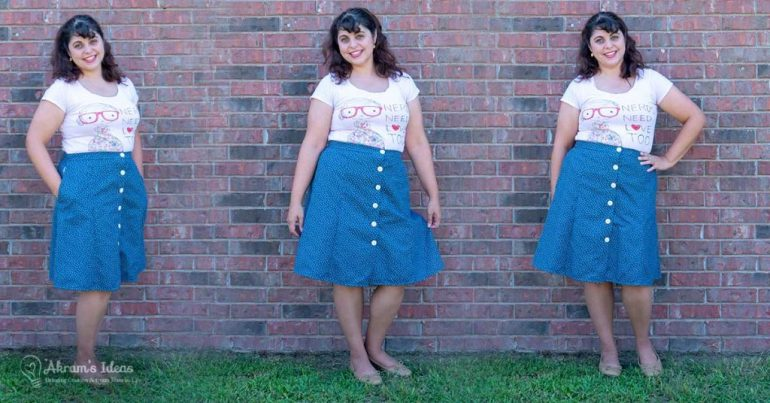 Sharing a super cute and nerdy outfit put together with a novelty tee and Simplicity 8019 a 1970's buttondown skirt made in a navy dotted swiss.