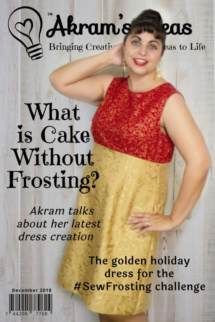What is cake without frosting? Sharing my little gold dress I made for the #sewfrosting sewing challenge.