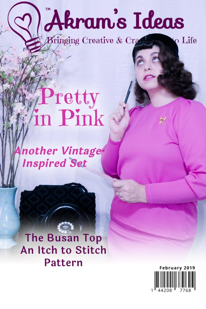 Another vintage inspired set this time in a bright pink. Sharing my latest make the Busan top from Itch to Stitch.