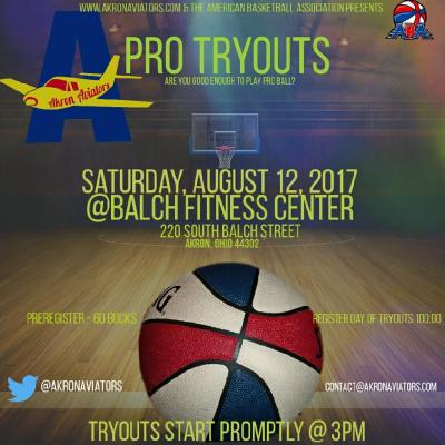Akron Aviators, basketball, tryout, aba,