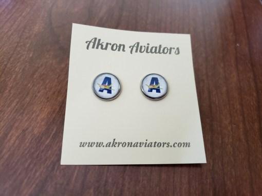 akron aviators earrings, akron aviators, earrings, sports earrings, sports team earrings