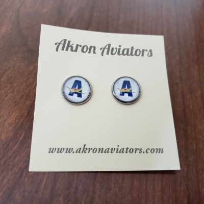 akron aviators earrings, akron aviators, earrings, sports earrings, sports team earrings