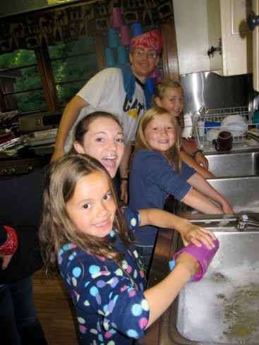Washing dishes in the kitchen!