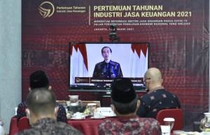 Presiden RI Joko Widodo menghadiri Pertemuan Tahunan Industri Jasa Keuangan 2021.