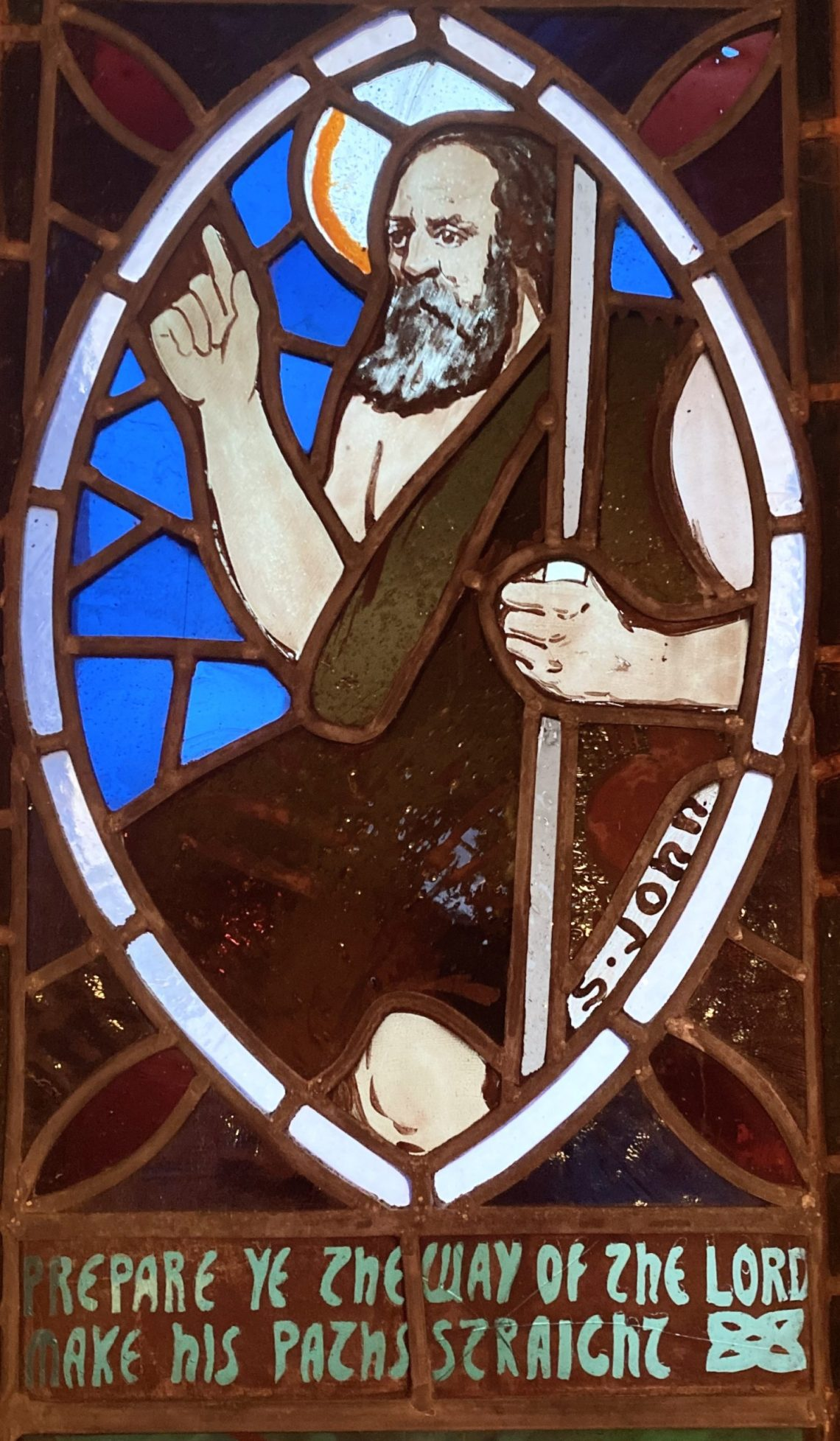 John the Baptist depicted in stained glass at Kiel Church