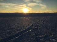 Spuren im Schnee und die Sonne verabschiedet sich langsam