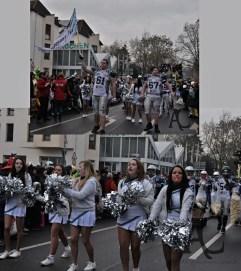 Footballspieler und ihre Cheerleader