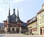 Das schöne Rathaus von Wernigerode bei Tag