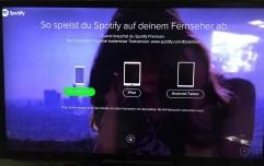 Dann könnte man über Tablet, iPad oder Smartphone und WLAN über Spotify-connect zum TV senden. Eine eigene App bringt der Stick nicht mit.