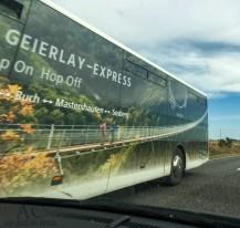 Der Geierlay-Express. Den trafen wir auf der Rückfahrt.