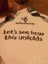 Slogan im Nando's: Mal sehen, wie es sich entfaltet.