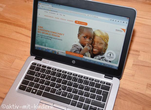 Die Homepage von World Vision