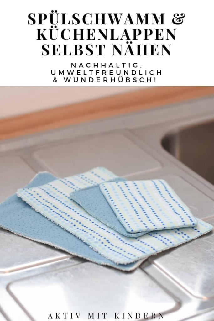 Selbst genähte Spülschwämme und Küchentücher für mehr Nachhaltigkeit.