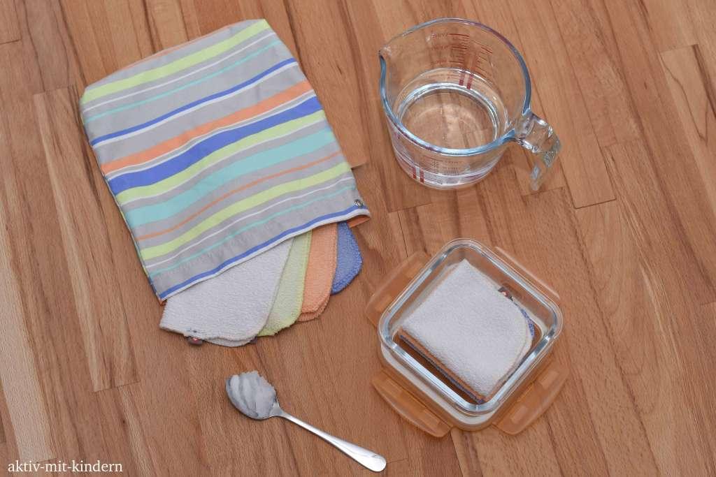 Selbstgemachte Feuchttücher mit Kokosöl