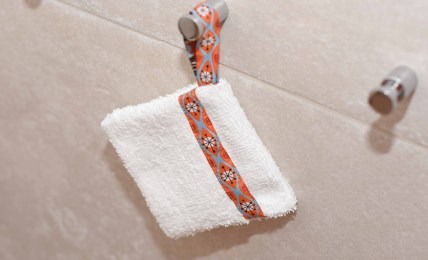 Selbstgenähtes Seifensäckchen zur Aufbewahrung von Seife