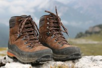 Hiking boots in the mountains Alps
