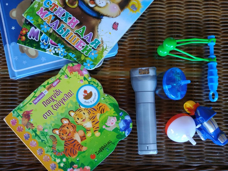 Books and stuff to take with you in a flight with a toddler