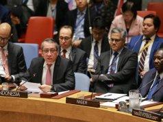 Wakil Tetap RI untuk PBB di New York Dian Triansyah Djani berbicara dalam pertemuan khusus Dewan Keamanan PBB tentang situasi Timur Tengah termasuk Palestina, di New York, AS, Selasa (11/2/2020). (PTRI New York)