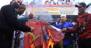 Aksi Unjuk Rasa Tolak RUU HIP Diwarnai dengan Bakar Bendera PKI dan PDIP