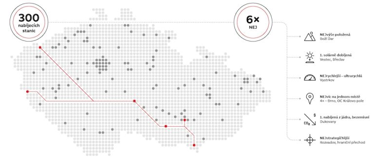 Mapa nabíjecích stanic ABB