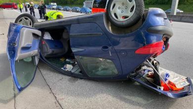 Photo of Auto überschlägt sich auf der A7 bei Heimfeld