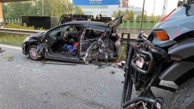 Bild von Unfall auf der A1 im Berufsverkehr – Fahrerin eingeklemmt